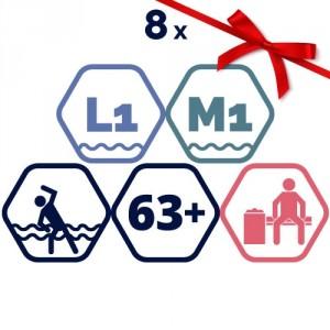 8 grupas nodarbības – Vingrošana ūdenī, aerobika ūdenī senioriem.