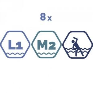 8 grupas nodarbības peldbaseinos. 45 minūšu nodarbība.