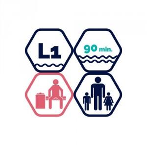1,5h peldbaseina apmeklējums | pieaugušais + 2 bērni līdz 11 gadiem