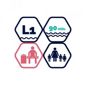 1,5h peldbaseina apmeklējums | pieaugušais + 3 bērni līdz 11 gadiem