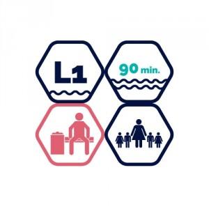 1,5h peldbaseina apmeklējums | pieaugušais + 4 bērni līdz 11 gadiem
