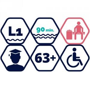 1,5h peldbaseina apmeklējums | bērni 12-17 gadi, studenti, seniori,  personas ar invaliditāti