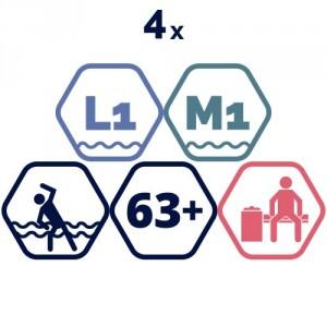 4 grupas nodarbības – Vingrošana ūdenī, aerobika ūdenī senioriem.
