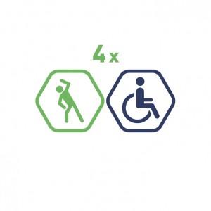 4 grupas nodarbības Vingruma zālē cilvēkiem ar invaliditāti. 60 minūšu nodarbība
